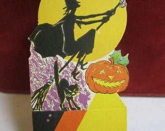 Unused die cut 1920's-30's Halloween place card image of silhouette of witch flying broom past full moon owl , black cat jack o lantern
