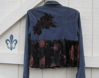 Hold for blessings.....XS-S, gypsy cowgirl hippie rustic romantic, Corduroy blue, velvet rose blouse, cropped jacket, cropped