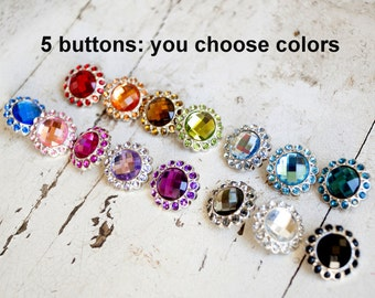 Acrylic Rhinestone Buttons - Large Rhinestone Buttons - 23mm Colored Rhinestone Buttons - Set of 5 - You Choose Colors - Large Bling Buttons