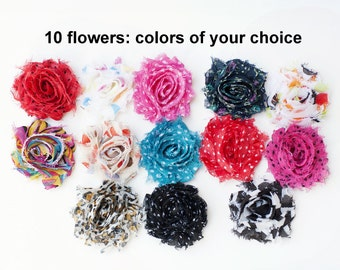"Printed Mini Shabby Flowers - Chiffon Frayed Flowers - Set of 10 - Fabric Flowers - You Choose Colors - 1.5"" Printed Flowers - MINI Printed"