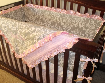 Gray Damask, Light Pink Dot, and Light Pink Ruffle Crib Bedding Ensemble
