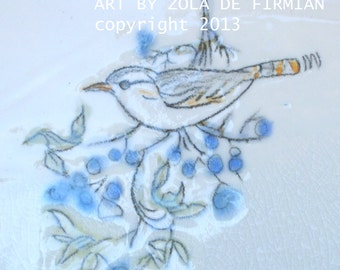 WREN WITH BERRIES- Handmade Art Tile with original drawing in glaze pencil, glazes. One of a kind by California Artist Zola de Firmian