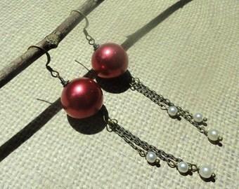 Vintage Grapes Antique Faux Pearl Earrings