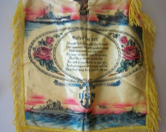 Wonderful Vintage United States Navy Sweetheart Yellow Satin Pillow Cover