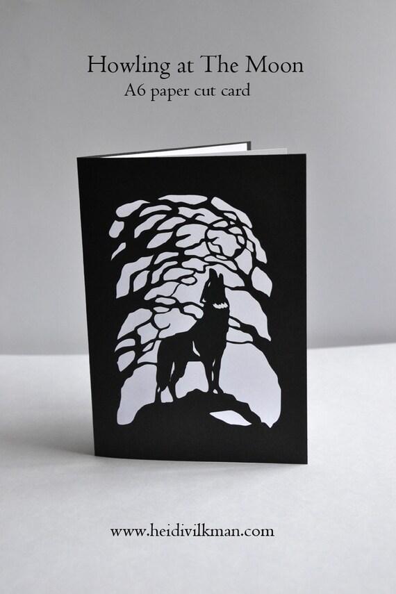 howling wolf  paper cut card  original design  handmade