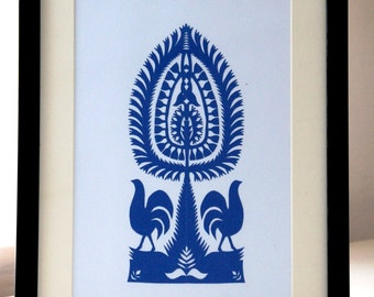Original Handmade PaperCuts Wycinanki Polish Folk Art Collage Leluja Kurpie