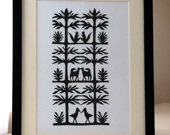 Original Papercut Wycinanki Polish Folk Art Collage The Forest