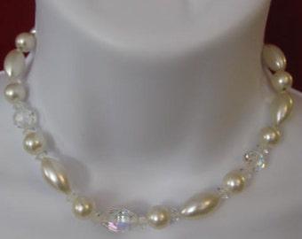 Vintage signed Laguna Pearl & AB Crystal Necklace Choker