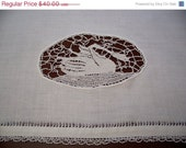 Vintage Figural Lace Linen Panel, Swan, Window Valance