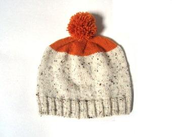 Orange and Beige pom pom beanie hat, UNISEX