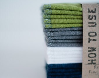 Baby Wipes Cloth Wipes Set of 20  -  Baby Wipes - Reusable Flannel Wipes ( Blue - White - Grey - Green)