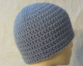 Periwinkle fitted beanie, unisex hat, mens hat, womens hat, teen to adult size, easy care, light blue/lavender  beanie, periwinkle hat