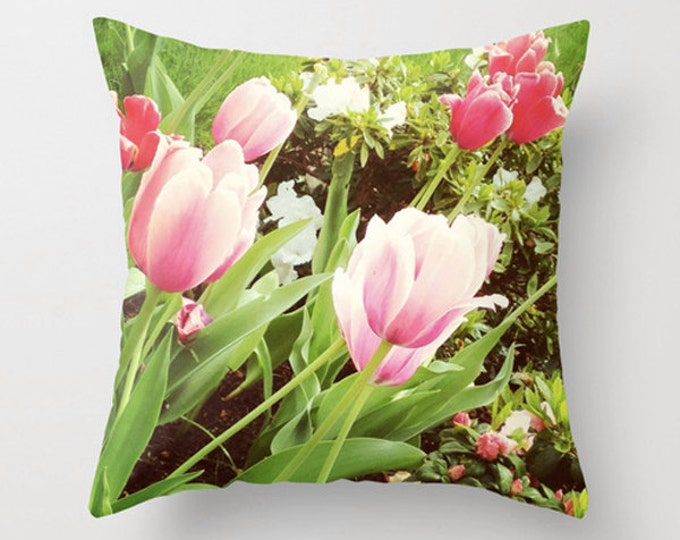 Pink Tulips Sofa Pillow for Modern Minimal Decor - 2 sizes available