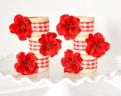 Handmade Gingham Picnic Napkin Rings Spring, Summer Wedding Table Settings Red Flowers with Plaid Ribbon for Backyard BBQ Parties. Set of 6