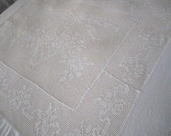 30s Bedspread Vintage Filet Crochet  Ecru Coverlet Handmade Crochet Floral Motif
