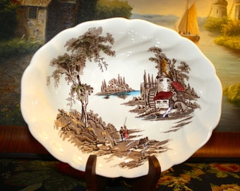 Vintage Johnson Bros China, The Old Mill Pattern, Oval Vegetable Bowl, Made in England, 1952-1977