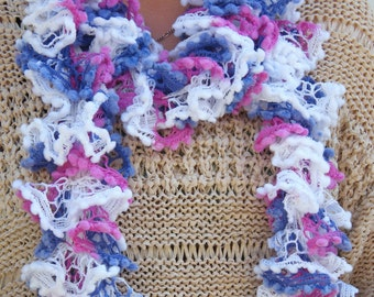 scarf, knitted in a pink, white and mauve lacy ruffle wool/yarn 70 inch. Frilly and feminine.