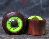 0g Sono Wood Ear Plugs with Neon Green Eyes, Green Eye Ear Plugs, Ear Gauges, 0g Wooden Gauges, Green Eye Plugs, Pierced Eye Design