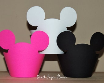 12 Minnie Mouse Cupcake Wrappers - Cardstock (Hot Pink, Black, White) (Disney, Cartoon, Minnie and Mickey, Mickey Ears, Mouse Ears, Bday)