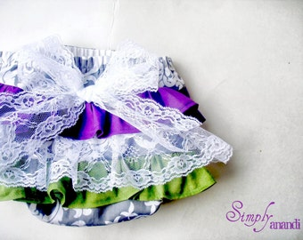 Baby Girl Bloomer-Fall-Vintage diaper cover-Vintage fall-ruffle diaper cover-ruffle bloomer-Purple and Olive bloomer-Baby Girl Fall