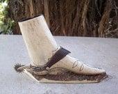 Vintage Elk or Deer Antler Carved Boot with Silver Spur  Free Shipping