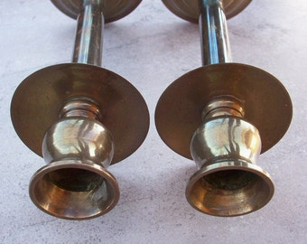 Brass Candle Stick Holders   Brass Candle Holders  Pair of Brass Candle Holders
