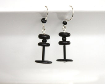 Black Wood Earring, Glass and Wood Dangle, Barbell Jewelry, Long Light Weight Earring, Hipster Dangle, Black Wooden Jewelry, Recycled Wood