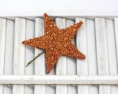 lucky star hair pin / copper german glass star bobby pin /  large glitter hair accessory / theLOVEstitch