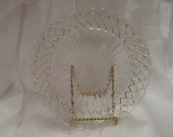 Dinner Plate Crystal Waterford Waffle Hocking Glass Vintage