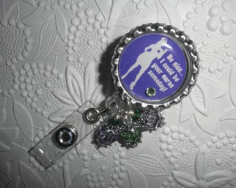 "Bottle Cap Nurse Badge - Professional Retractable ID Badge Reel With "" Be Nice...I Could Be Your Nurse Someday"" on a Bottle Cap and Beads"