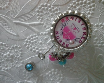 "Registered Nurse Badge - Professional Retractable ID Badge Reel With ""Registered Nurse"" on a Bottle Cap With Decorative Beads"