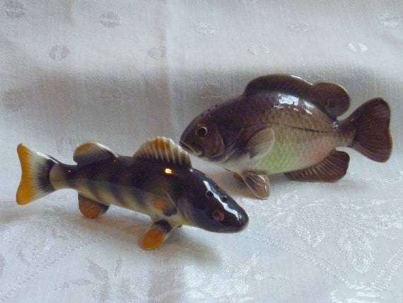 Vintage Fish Salt And Pepper Shakers Yellow Perch And Rock