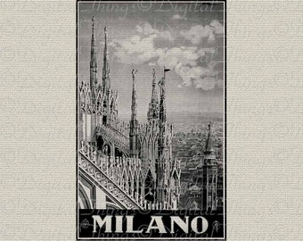 Travel Italy City Poster Milan Scenery Wall Decor Art Printable Digital Download for Iron on Transfer Fabric Pillows Tea Towels DT234