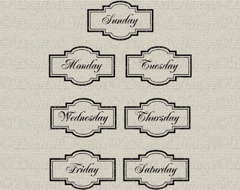 Number Names Worksheets days of the week printable : day of the week tags – Etsy