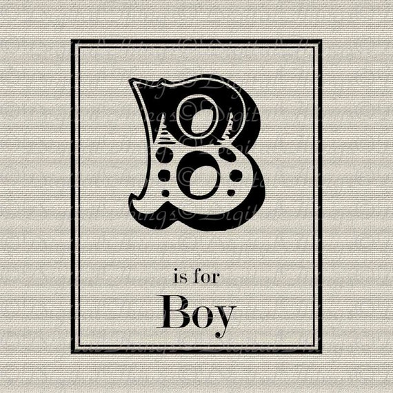 B For BOY Monogram Baby Nursery Art Decor Typography Printable Digital Download for Iron on Transfer Fabric Pillows  DT744