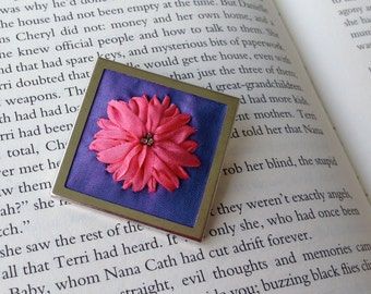 Pink and Purple Brooch - Bright Silk Ribbon Embroidery - BeanTown Embroidery