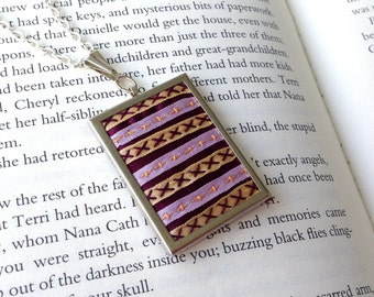 Geometric Embroidered Necklace, Pink, yellow and purple striped pendant - by BeanTown Embroidery