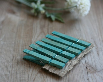 LaRgE hand stained wood clothespins, TeAL BLue, rustic wedding favor, vintage style wedding favor, baby shower favor