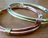Mixed Metal Bracelets // Copper and Brass Bracelets // Wire Wrapped Bangles