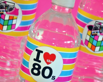 INSTANT DOWNLOAD, 80's Theme Party Water Bottle Labels - Printable - Glamorous Sweet Events
