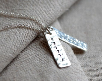 Hammered Name Necklace - Personalize - Mother