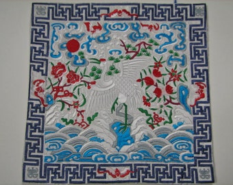 vintage-silk embroidery tapestry crane and flowers  wall hanging