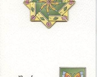 Best wishes card with teabag folded medallion design