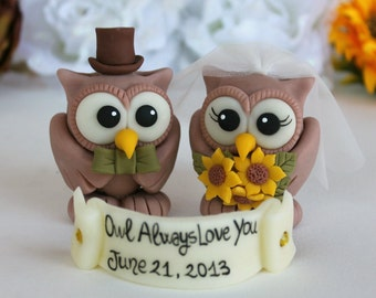 Rustic wedding cake topper - custom wedding owl cake topper - owl always love you - vintage sunflower wedding