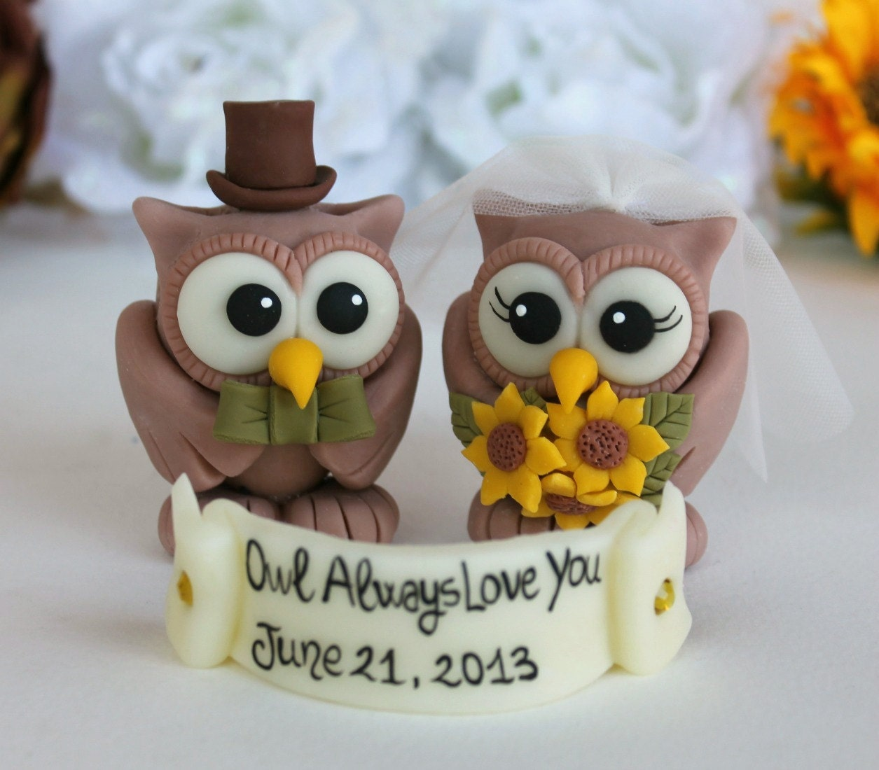 Rustic Owl Wedding Cake Topper