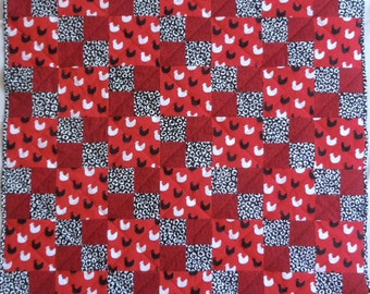 Chicken Quilt, Red Quilt, Black Quilt, Farm Animal Quilt, Barnyard Quilt, Black and White Quilt