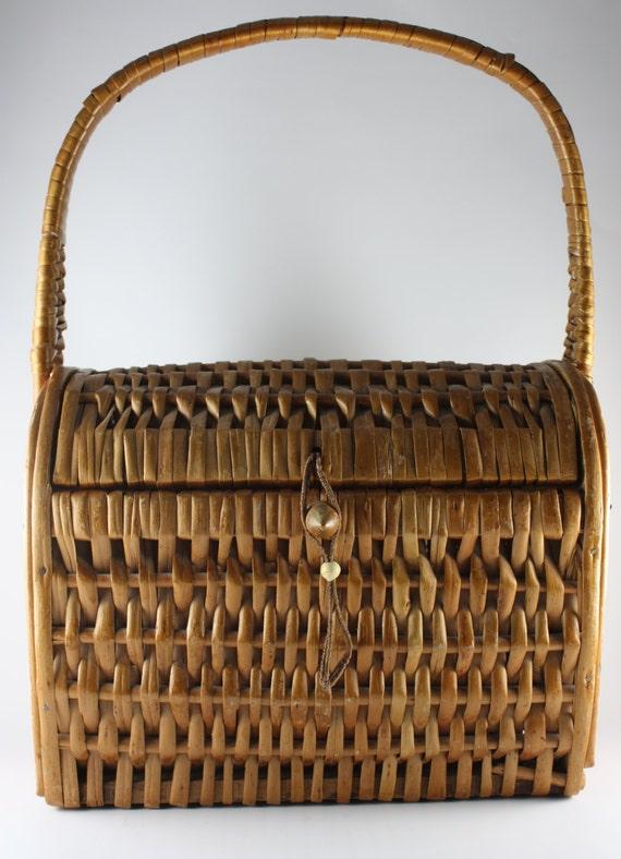Wicker Basket, Vintage, 1970's, Vintage Bag, Purse, Case, Storage Basket, Tan Leather, Bead Strap Closure