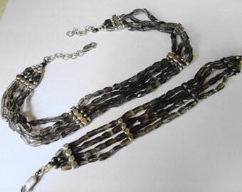 Topaz & sterling silver necklace bracelet set