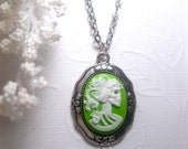Silver Backed Green Neon Lolita Skeleton Pendant Necklace