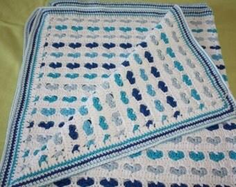 Babydeken Hartjes blauw